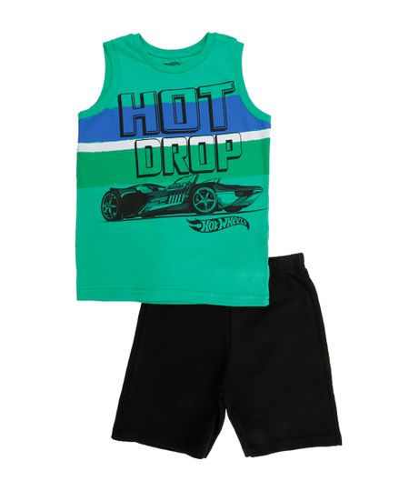 Conjunto de Regata Verde + Bermuda Hot Wheels Preta