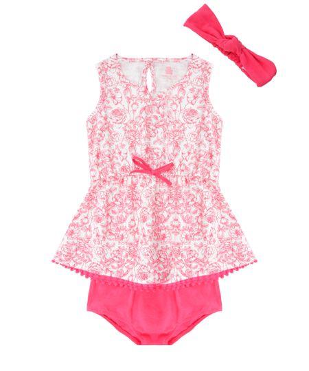 Vestido Estampado Floral + Calcinha + Faixa de Cabelo Rosa