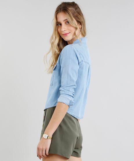 Camisa Jeans Feminina Cropped com Bolsos Manga Longa Azul Claro eac04826702