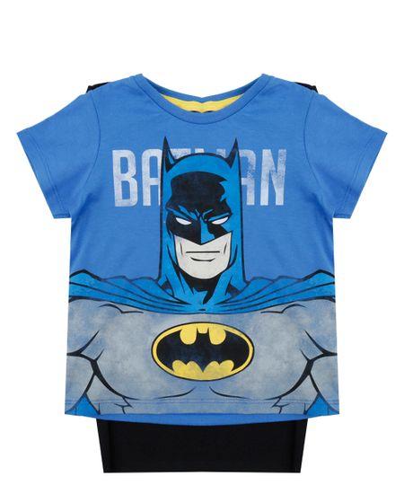 Camiseta Batman com Capa Azul