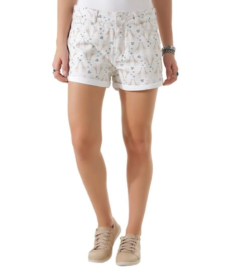 Short Relaxed Étnico Off White