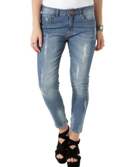 Calça Jeans Cigarrete Azul Médio