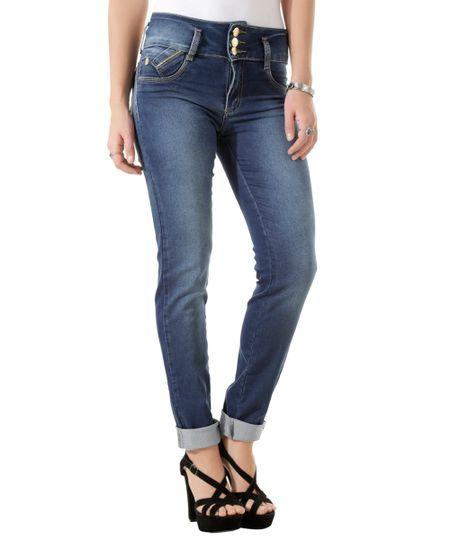 Calça Jeans Sawary Skinny Modela Bumbum Azul Escuro