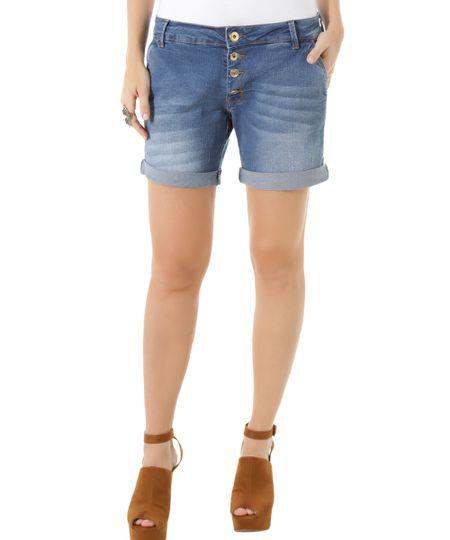 Bermuda Jeans Comfort Azul Médio