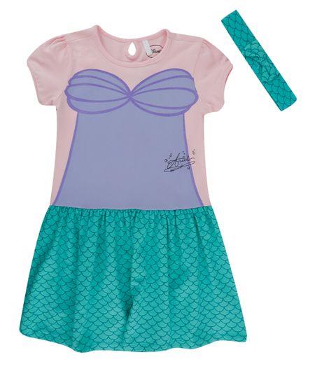 Vestido Pequena Sereia + Faixa de Cabelo Rosa Claro