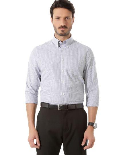 Camisa Social Comfort Xadrez Branca