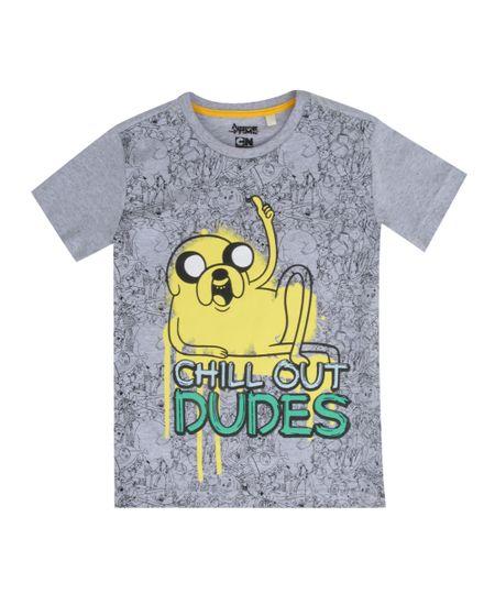 Camiseta Hora de Aventura Cinza Mescla
