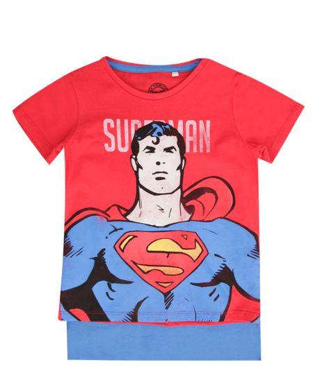Camiseta com Capa Super Homem Vermelha