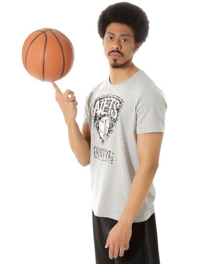 Camiseta Brooklyn Nets NBA Cinza Mescla