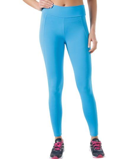 Calça Legging Ace com Recortes Azul Claro