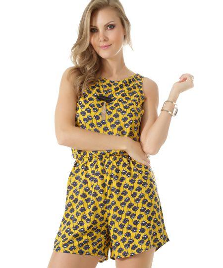 Macaquinho Floral Amarelo