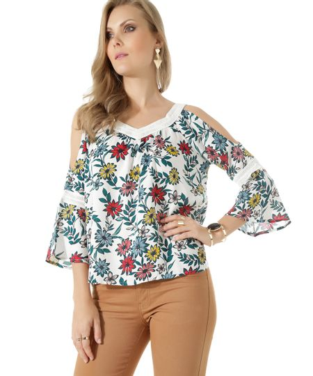 Blusa Open Shoulder Floral Branca