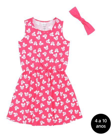 Vestido Estampado + Faixa de Cabelo Isabela Capeto & Disney Pink