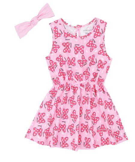 Vestido Estampado + Faixa de Cabelo Isabela Capeto & Disney Rosa
