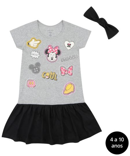 Vestido + Faixa de Cabelo Isabela Capeto & Disney Cinza