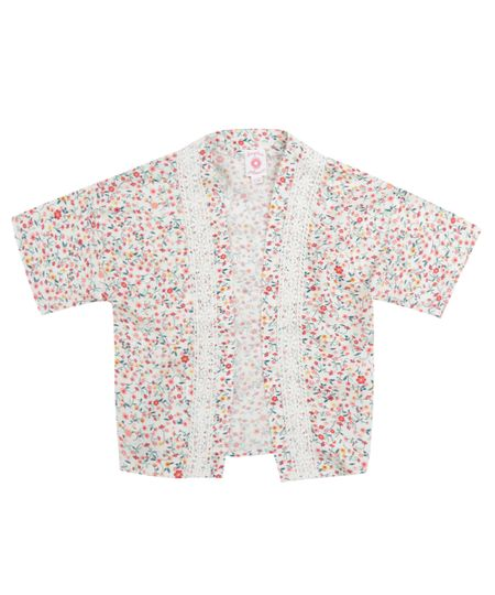 Quimono Estampado Floral Off White