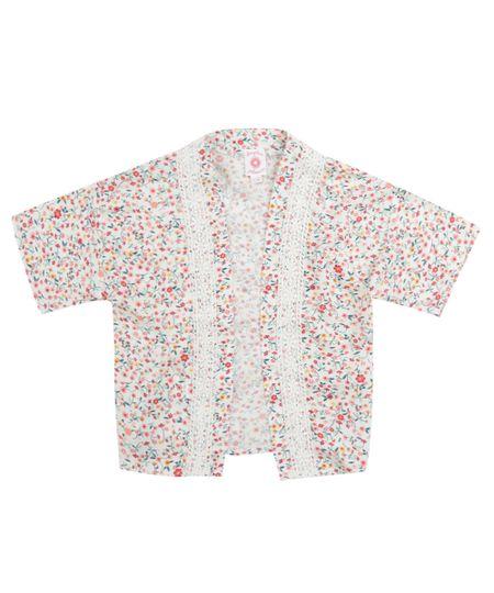 Quimono Estampado Floral Off White