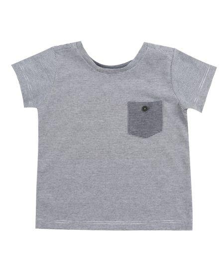 Camiseta Listrada com Bolso Branca