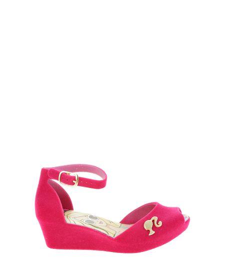Sandália Flocada Barbie Pink