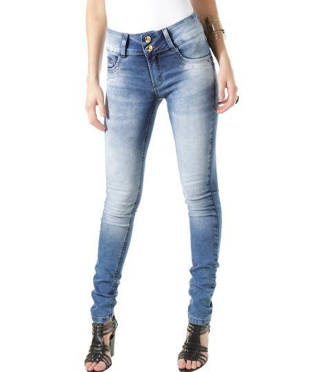 Calça Jeans Super Skinny Modela Bumbum Sawary Azul Médio