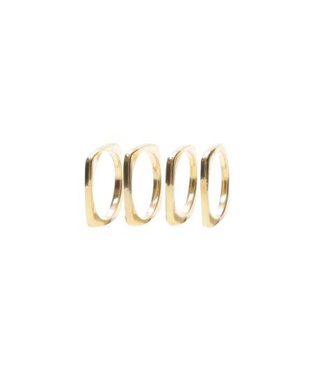 Kit de 4 Anéis Quadrados Dourado