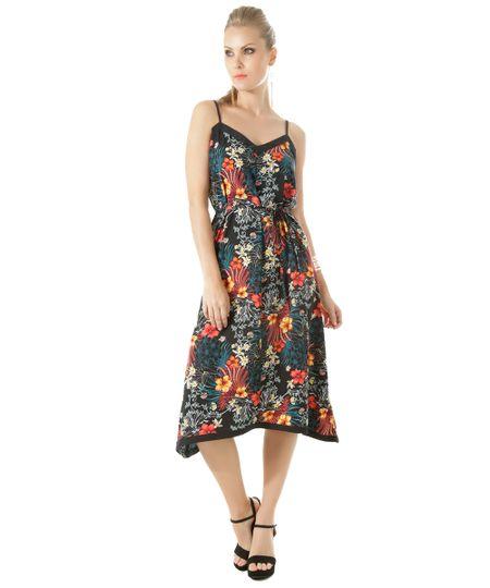 Vestido Midi Estampado Floral Preto