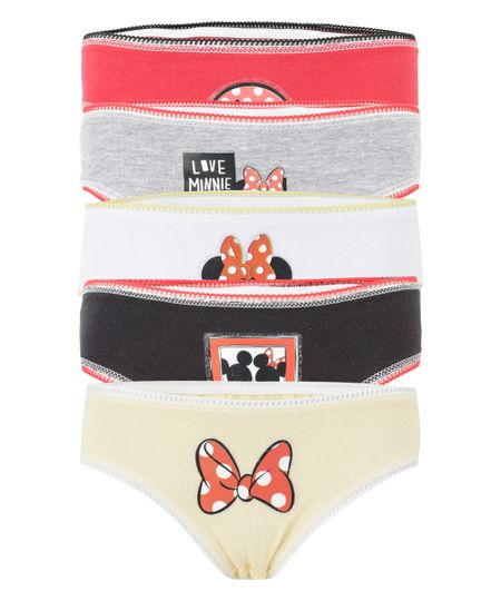 Kit de 5 Calcinhas Minnie Multicor