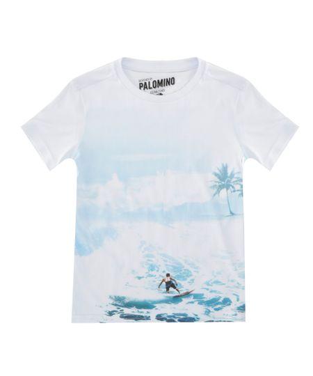 Camiseta com Estampa de Paisagem Branca