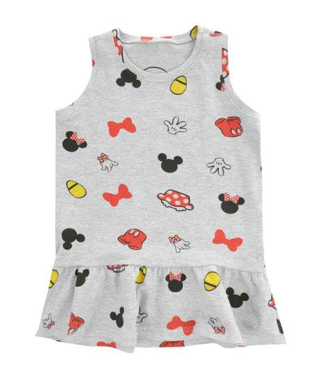 Vestido Mickey & Minnie Cinza Mescla