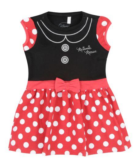 Vestido Minnie + Faixa de Cabelo Preto