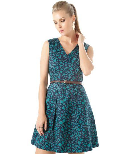 Vestido Estampado Floral com Cinto Azul Marinho