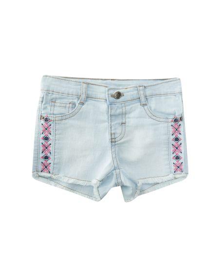 Short Jeans com Bordado Azul Claro