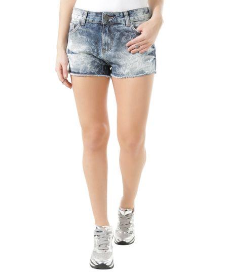 Short Jeans Relaxed Estampado Azul Médio