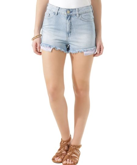 Short Hot Pant Jeans Azul Claro