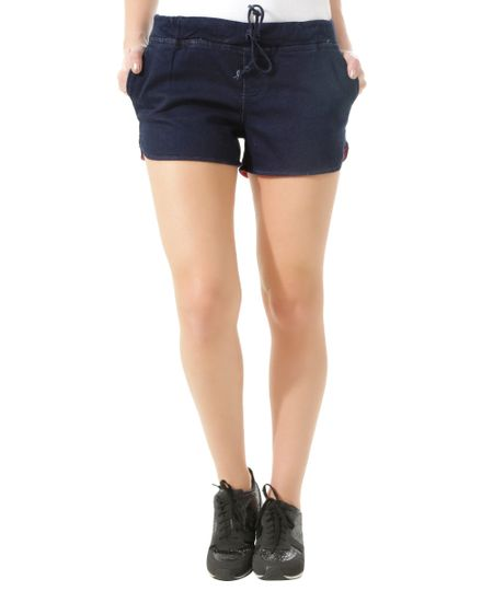 Short Jeans em Moletom Azul Escuro