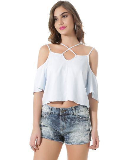 Blusa Cropped Jeans Open Shoulder Azul Claro