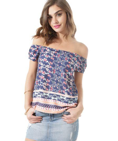 Blusa Estampada Floral de Ombro a Ombro Azul Marinho