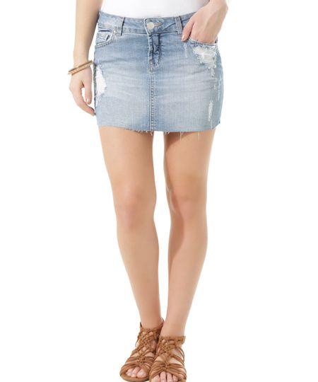 Saia Jeans Azul Claro