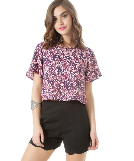 Blusa Cropped Estampada Off White