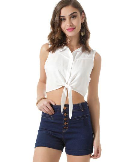 Camisa Cropped com Amarração Off White
