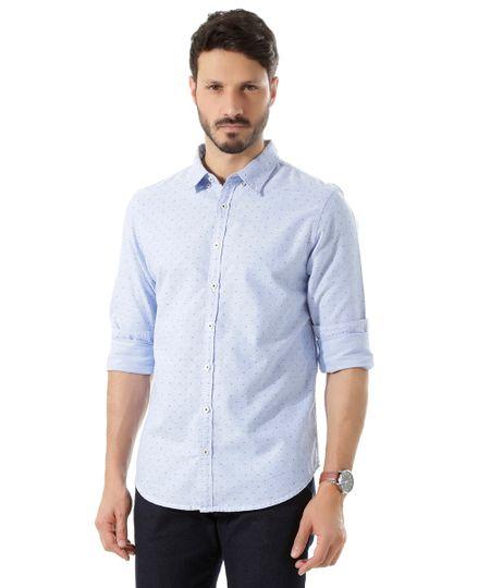 Camisa Slim Estampada Azul Claro