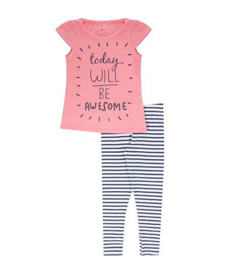 Conjunto de Blusa Rosa + Calça Legging Branca