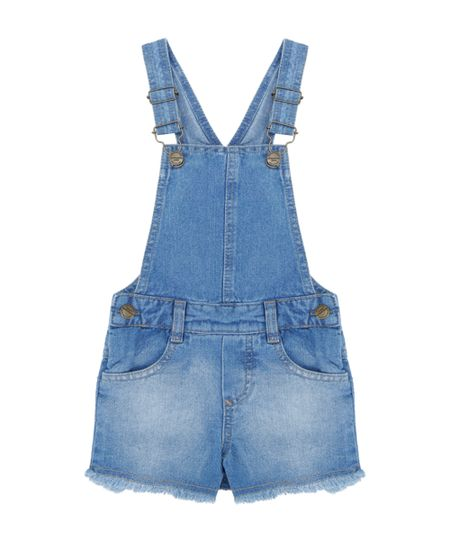 Jardineira Jeans Azul Médio