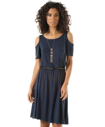 Vestido Open Shoulder com Cinto Azul Marinho