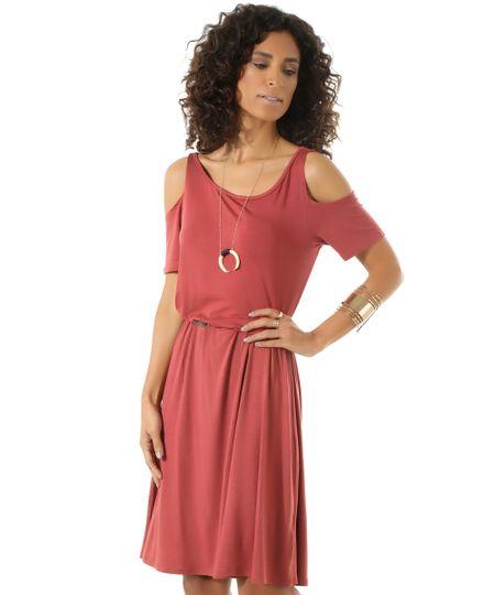 Vestido Open Shoulder com Cinto Vinho