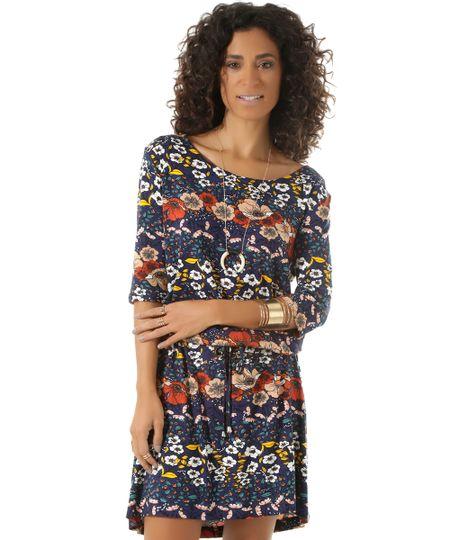 Vestido Estampado Floral Azul Marinho