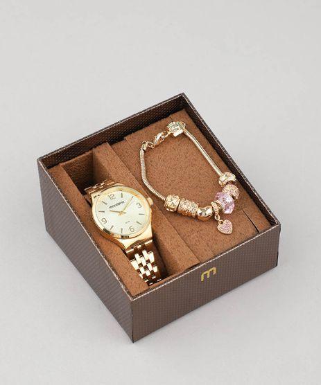 91f16851be6 Kit de Relógio Analógico Mondaine Feminino + Pulseira - 53725LPMGDE1KA  Dourado - Único