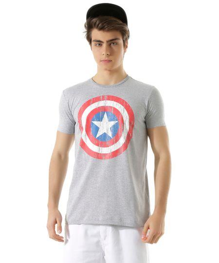 Camiseta Capitão América Cinza Mescla