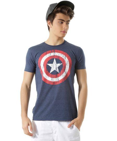 Camiseta Capitão América Azul Marinho