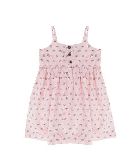Vestido Estampado de Lacinhos Rosa Claro